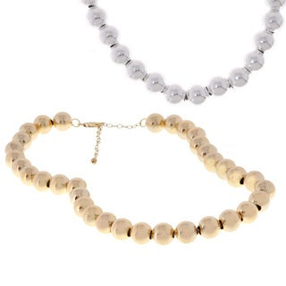 Mondevio Sterling Silver/18k Gold 12mm Round Bead Necklace