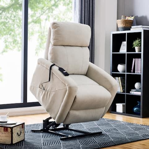 Carson Carrington Harlev Cream Chenille Power Recline and Lift Chair