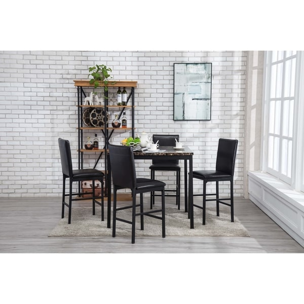 Kitchen Dining Room Sets Arjen Black Faux Leather Marble Metal 5 Piece Upholstered Counter Height