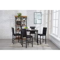 Arjen 5pc Upholstered Faux Marble Counter Height Dining Room Set