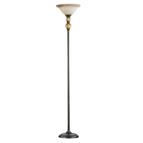 Home Source Bliss Crystal Touchiere Floor Lamp with White Alabaster Glass Lamp Shade