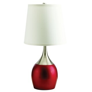 Home Source Viola Table Lamp with White Drum Lamp Shade, Chrome and Red Metal Base