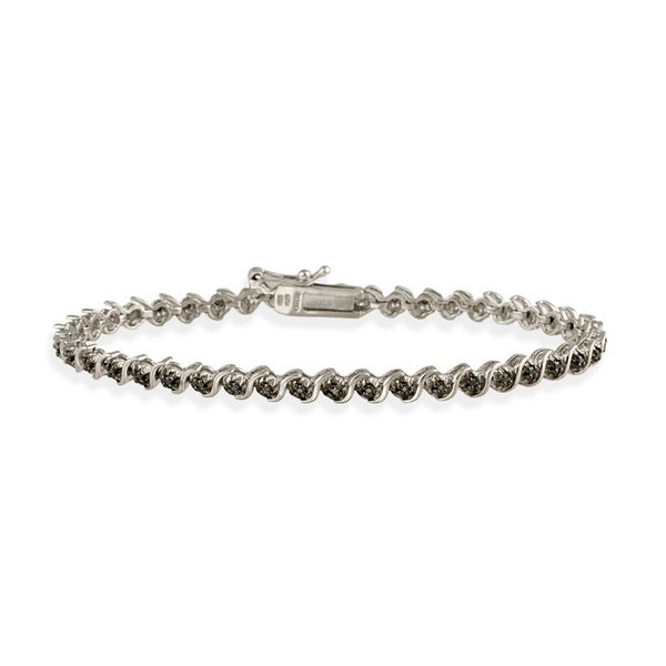 DB Designs White, Black, or Champagne 1/8ct Diamond Tennis Bracelet