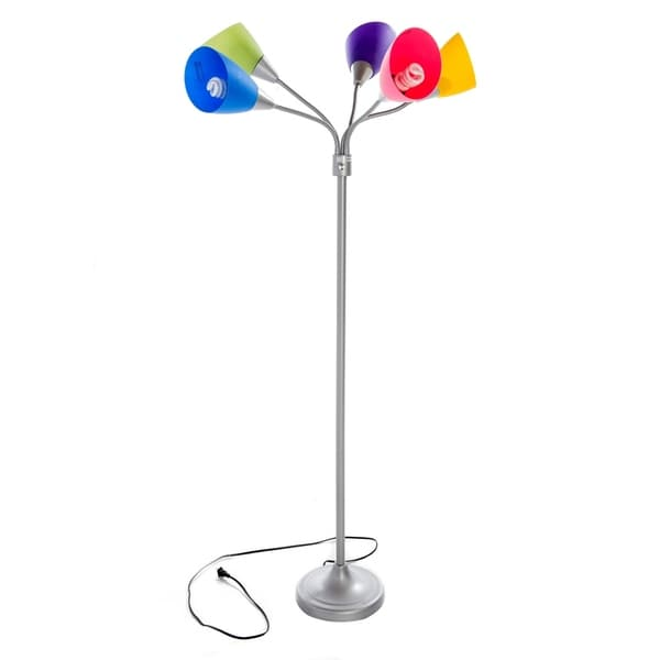 Home Source Multi-Colored 66-Inch Floor Lamp with Chrome Base
