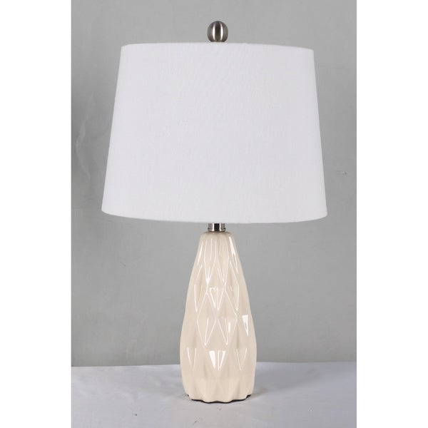 Home Source Sienna Table Lamp with White Drum Lamp Shade, Cream Cermaic Base