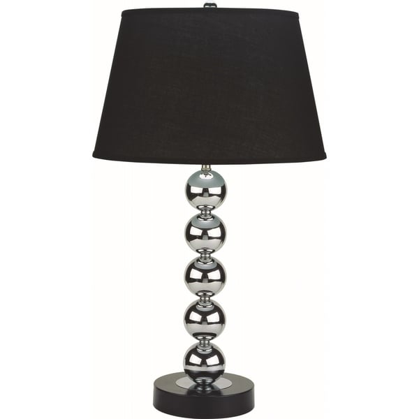 Home Source Alice Table Lamp With Stacked Glass Ball Base And Black Linen  Drum Lamp Shade