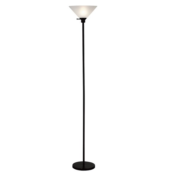 Home Source Linda 72-Inch Touchier Lamp with White Lamp Shade, Black Base