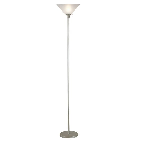 Home Source Linda 72-Inch Touchier Lamp with White Lamp Shade, Silver Base
