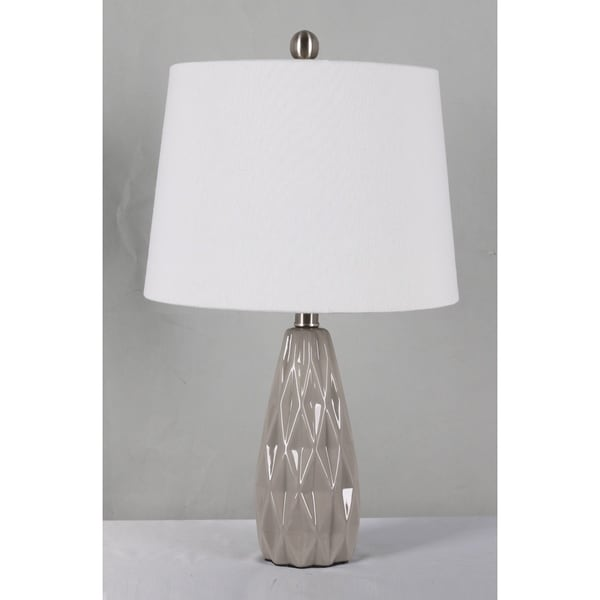 Home Source Sienna Table Lamp with White Drum Lamp Shade, Beige Cermaic Base