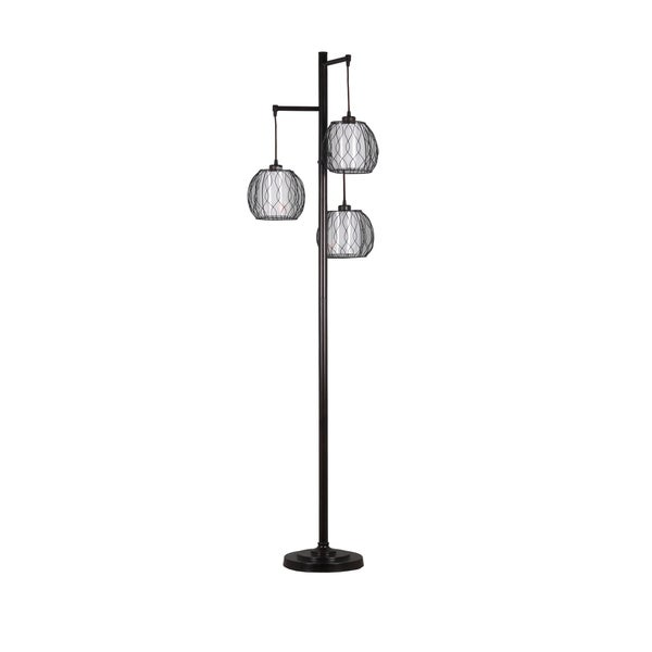 Home Source Rowena 3 Tier Floor Lamp with Lantern Lamp Shades