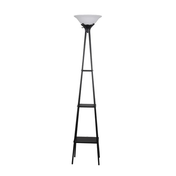 Home Source 70.5-Inch Ladder Touchier Lamp with 3 Shelves and White Alabaster Glass Lamp Shade, Black Metal Base