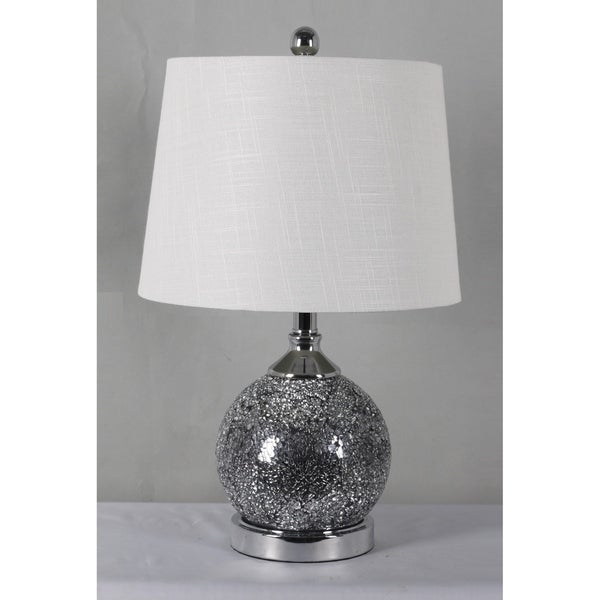 Home Source Marie Table Lamp with Mercury Glass Base and White Linen Drum Lamp Shade
