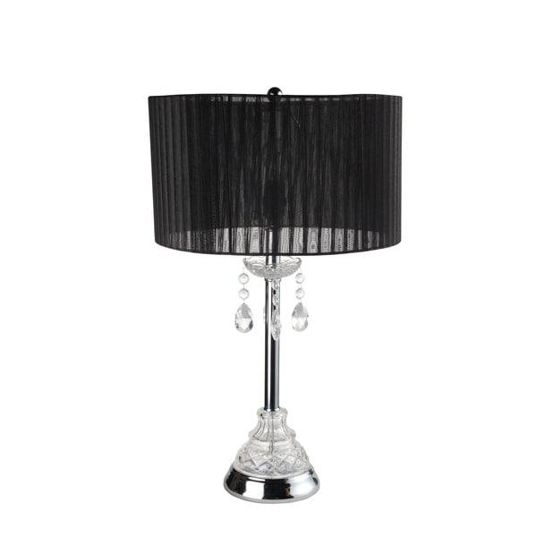 Home Source Jewel Table Lamp with Chandalier Base and Black Pleated Lamp Shade