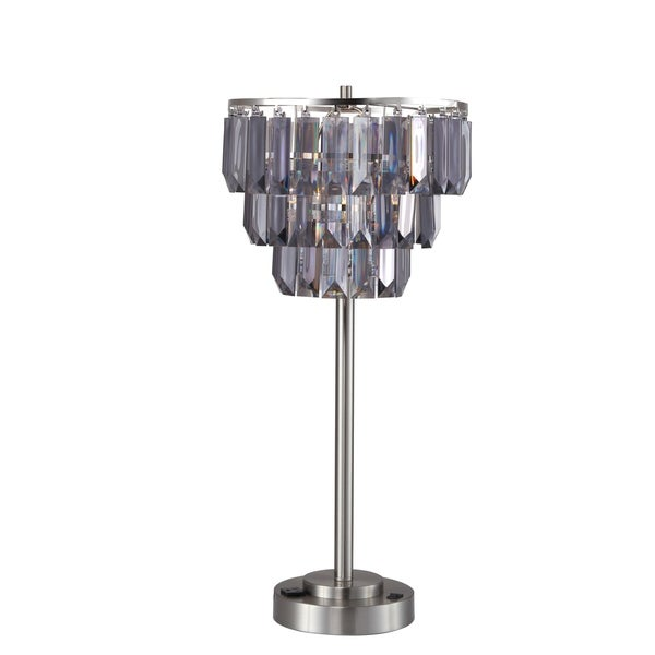 Home Source Kiera Table Lamp with Removable Chandalier Lamp Shade, Chrome Base with Outlet