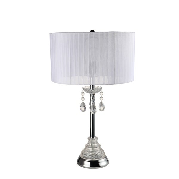 Home Source Jewel Table Lamp with Chandalier Base and White Pleated Lamp Shade
