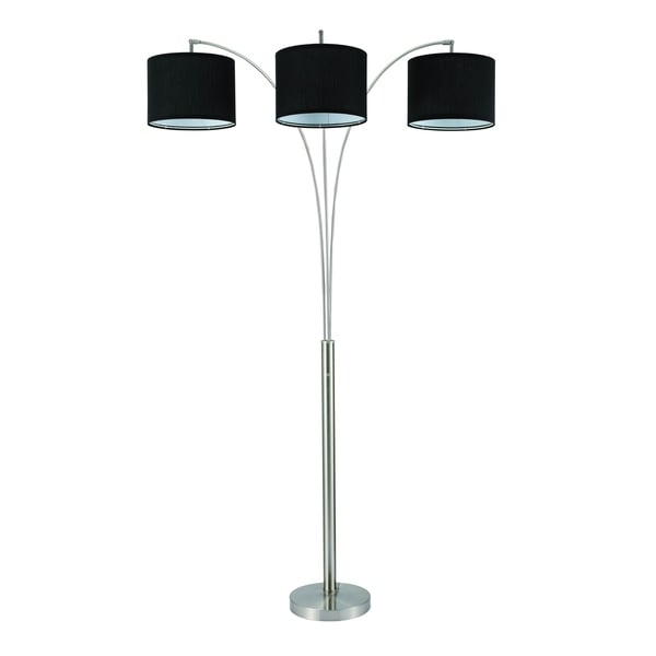 Home Source Trio Floor Lamp with Black Linen Shades