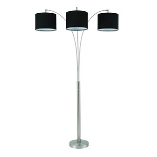 Home Source Trio Floor Lamp in Black with Linen Shades