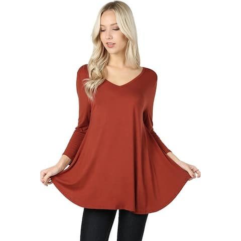 JED Women's Soft & Stretchy 3/4 Sleeve V-Neck Flared Top