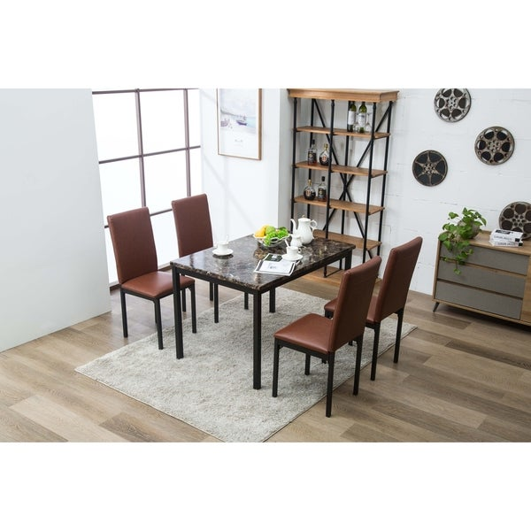 Shop Arjen 5pc Upholstered Faux Leather Faux Marble Dining
