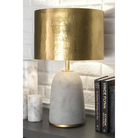 nuLOOM 25'' Natalie Concrete & Iron Aluminium Shade Table Lamp