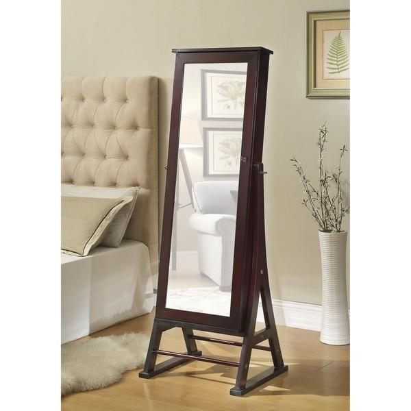 Espresso Eiffel Cheval Mirror Jewelry Cabinet Armoire Box Stand