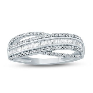 3/8 Carat TW Baguette and Round Diamond Band in 10K White Gold
