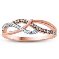 1/10 Carat TW Brown and White Diamond Ring in 10K Rose Gold