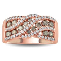 1 1/10 Carat TW Brown and White Diamond Ring in 10K Rose Gold
