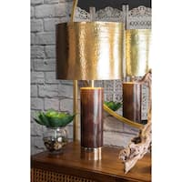 Watch Hill 26-inch Aria Chevron Wood & Iron Aluminium Shade Table Lamp