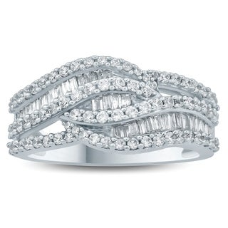 1 Carat TW Baguette and Round Diamond Ring in 10K White Gold