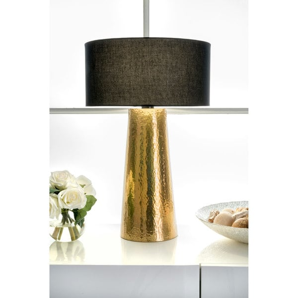 Watch Hill 21'' Layla Aluminum Cotton Shade Table Lamp, Black