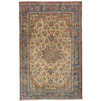 eCarpetGallery Hand-Knotted Isfahan Ivory  Wool Rug (5'0 x 8'2)