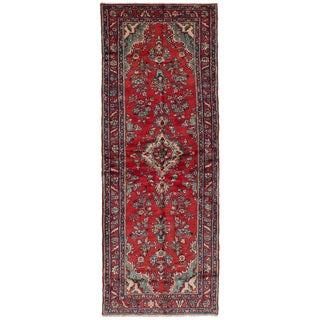 eCarpetGallery Hand-Knotted Hamadan Red Wool Rug (3'3 x 8'11)