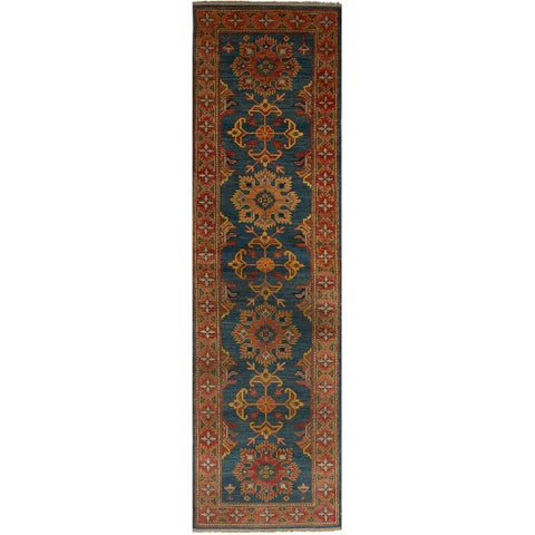 eCarpetGallery Hand-Knotted Finest Gazni Blue Wool Rug (2'7 x 10'1)