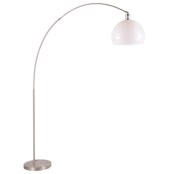 Decco Contemporary Arched Floor Lamp in Brushed Nickel and White