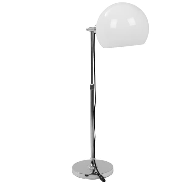 Decco Contemporary Adjustable Table Lamp in White and Chrome