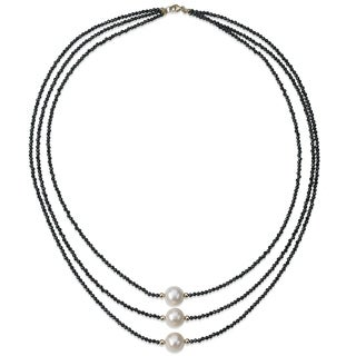 PearlAura 14 Karat Gold 9-10mm White Round Cultured Freshwater Pearl and 2-3mm Faceted Roundel Black Spinel Necklace