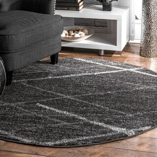 Silver Orchid Spencer Contemporary Abstract Striped Dark Grey Round Area Rug