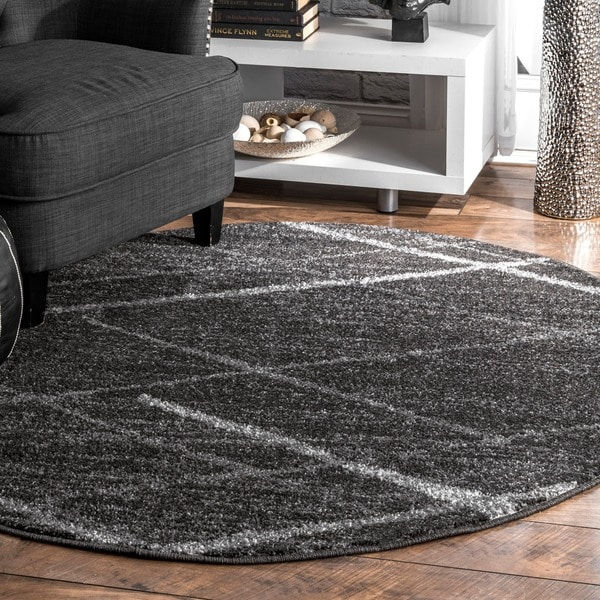 Silver Orchid Spencer Contemporary Abstract Striped Dark Grey Round Area Rug (5' Round)