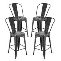 "Vogue Furniture Direct Metals Natural Patina Metal 24-inch Seat-back Bar Stool (Set of 4) - 24""H"