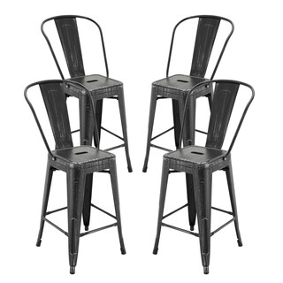 "Vogue Furniture Direct Metals Natural Patina Metal 24-inch Seat-back Bar Stool (Set of 4) - 24""H"