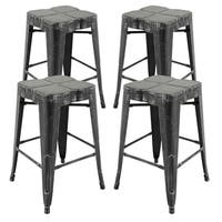 Vogue Furniture Direct Metals Set of Four 24-inch Fully Assembled Backless Barstools