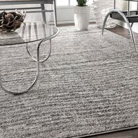 nuLoom Grey Contemporary Waves Solid Square Rug - 7' 6 Square