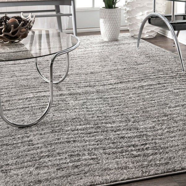 nuLoom Grey Contemporary Waves Solid Square Rug (7' 6 Square) - 7' 6 square