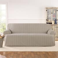 Sure Fit Grain Sack Stripe Once Piece Sofa Slipcover in Linen (As Is Item)