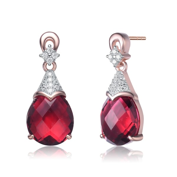 Collette Z Rose Gold Plated Sterling Silver White And Red Cubic Zirconia Earring