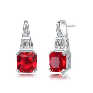 Collette Z Sterling Silver Square Red Cubic Zirconia Accent Drop Earrings