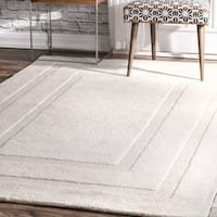 nuLoom Transitional Ivory Wool Double Border Handmade Area Rug (5' x 8') - 5' x 8'