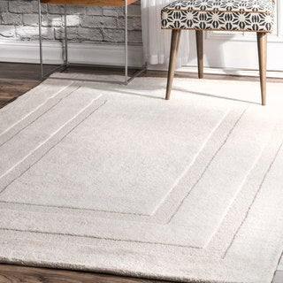 "nuLOOM Transitional Handmade Wool Double Border Ivory Rug (7' 6"" x 9' 6"")"