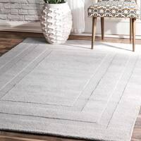 nuLoom Transitional Light Grey Wool Double Border Handmade Area Rug - 5' x 8'